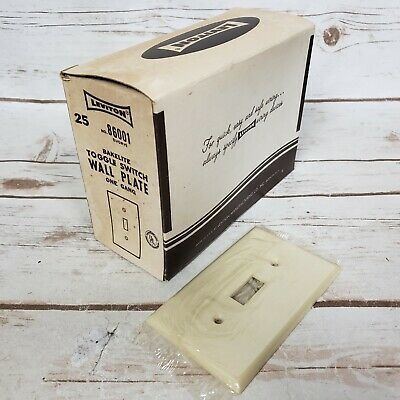 NOS Vintage Leviton Ivory Bakelite Toggle Switch Wall Plates One Gang Box of 25