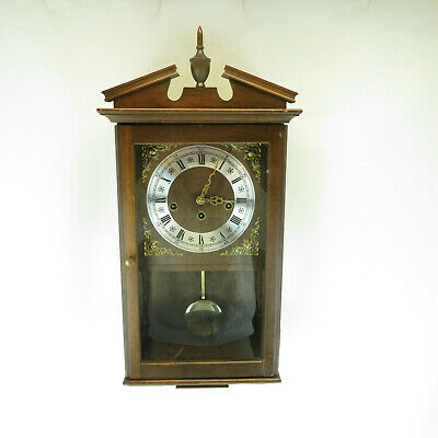 """Vintage 8-Day Wind Up 22"""" Wall Chime Clock in Wood Case - USA Made Pendulum"""