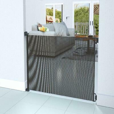 """Baby Gate Retractable Black Stair Child Expandable Up To 71"""" UV Mesh Fence Guard"""
