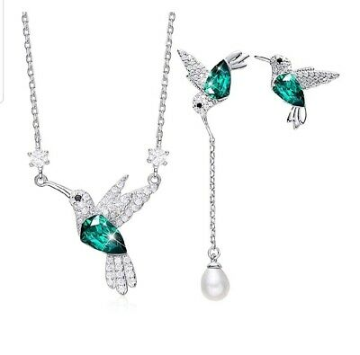 Hummingbird S925 Sterling Silver jewelry set with swarovski crystals