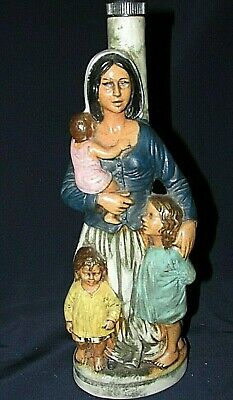Vintage Pottery Grappa Wine Decanter Bottle Mother & Children 1973 ITALY As New