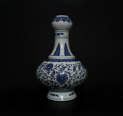 Old Superb Antique Chinese Porcelain Blue and White Vase Qianlong Marked-33CM