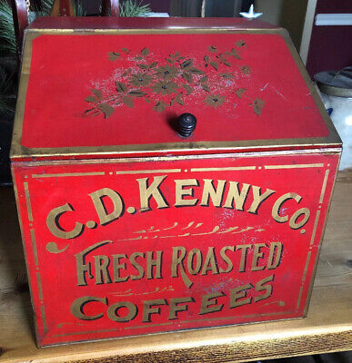 ANTIQUE C D Kenny General Country Store Advertising Display Tin Bin Coffee Tea
