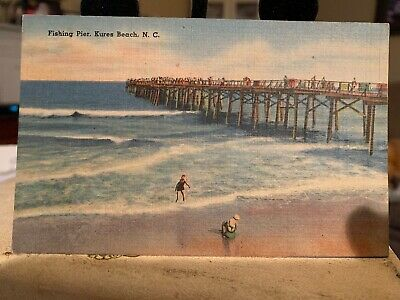 Vintage Unused Unposted Postcard Fishing Pier Kures Kure Beach North Carolina NC