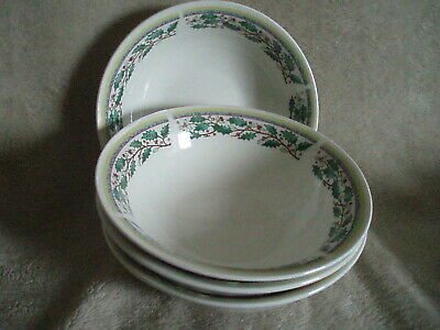 "4 GIBSON CHINA GID141 Christmas / Holly Berry 6-1/2"" Soup/Cereal Bowls FREE SHIP"