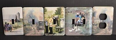 Mixed Lot of (5) AMISH Themed Scenes WALL Switch PLATEs Outlet Covers