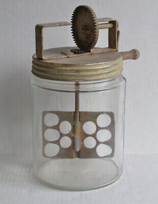 "Antique Hand Crank ""THE HOME BUTTER MAKER"" CHURN Tin Lid / Old Wavy Glass"
