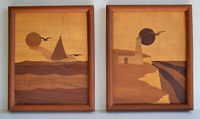 (2) Handmade Vintage Marquetry Pictures Wooden Inlay Sunset Sailboat Lighthouse