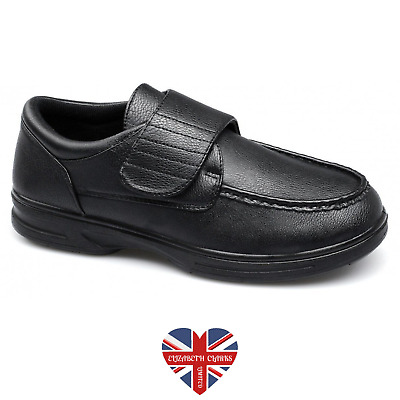 Mens Leather Padded Orthopaedic Wide Fit Moccasin Touch Fastening Leather Shoes