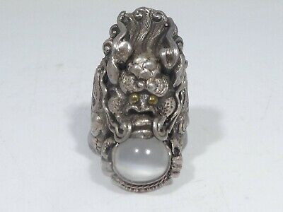 Antique Chinese Or Indian Sterling Silver  Dragon Ring With Moonstone Size 6.5
