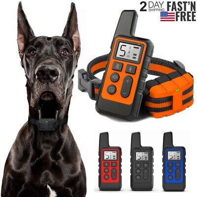 875 Yard Electric Dog Shock Training Collar Waterproof Rechargeable for 1/2 Dogs
