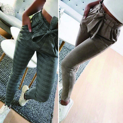Womens High Waist Paperbag Cigaratte Striped Trousers Ladies Pants Size 6-14