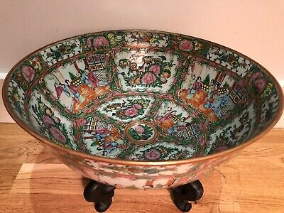 Antique X Large Chinese Canton Famille Rose Medallion Punch Bowl China Porcelain
