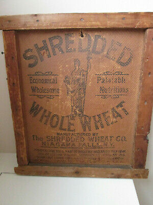 Antique Shredded Whole Wheat Wooden Shipping Crate End Niagara Falls NY 1900's