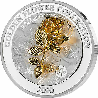 "Samoa 2020 5$ Golden Flower Collection Rose LOVE 3D 1Oz Silver Coin ""1"""