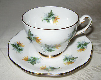 Royal Standard Teacup and Saucer, Yellow Floral, Scalloped, Gold Trim, England