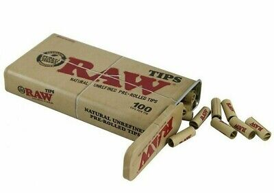 RAW PRE ROLLED ROACH FILTER TIPS NATURAL ROLLING PAPER with SLIDING METAL TIN