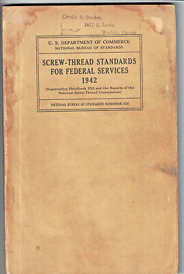 1942 Screw Thread Standards Federal Services National Bureau of Standards H28