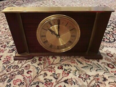 Vintage Metamec Mantel Clock, Brass & Wood,Rectangular Design 240V Mains GWO
