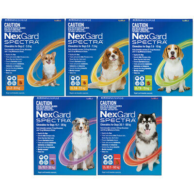 NexGard Spectra Flea Tick Heartworm 1, 2, 3 and 6 Dose Treatment for Dogs