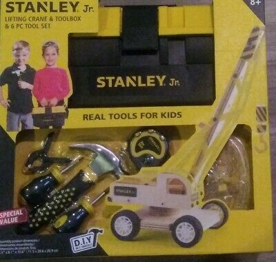 Stanley Jr Toolbox 6 PC Tool Set Real Sized Tools For Kids Wood Lifting Crane