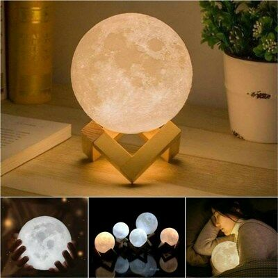 3D Printing LED Moon Lamp Moonlight USB Night Lunar Light Touch Colour Changing
