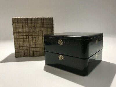 Japanese Wooden Lunch Box Vtg Wajima Lacquer Ware Lidded Black two-Stage h271