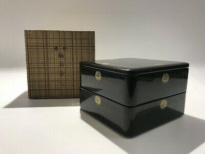 Japanese Wooden Lunch Box Vtg Wajima Lacquer Ware Lidded Black two-Stage h272