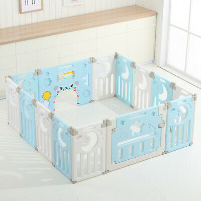 12+2 Large Foldable Baby Playpen Room Divider Indoor Outdoor Safety Yard Fence