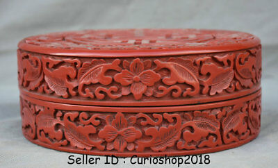 """7"""" Rare Old Chinese Red Lacquerware Dynasty Palace Flower Jewelry Box Jewel Case"""