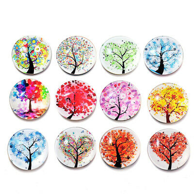 12 pcs Fridge Magnets Tree of Life Glass Stickers Whiteboard Decoration for Home