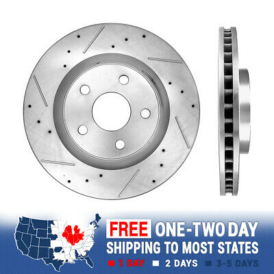 POWER DRILLED SLOTTED PLATED BRAKE DISC ROTORS PADS 75744PK FRONT + REAR