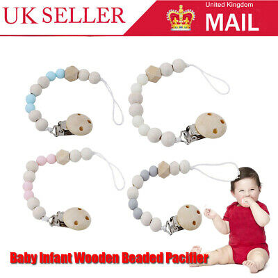 Baby Infant Wooden Beaded Pacifier Holder Clip Nipple Teether Dummy Strap UK