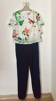 Ted Baker Floral Birds Print Jumpsuit Size 12 Years Girls Party