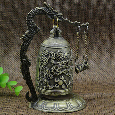Fm_ China Vintage Decorated Handwork Copper Carved Dragon Wonderful Bell Statue