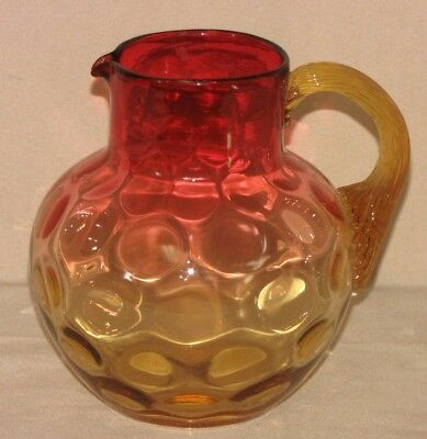 Antique Red Amberina Coin-Dot Thumbprint Pattern Pitcher Jug Reeded Handle
