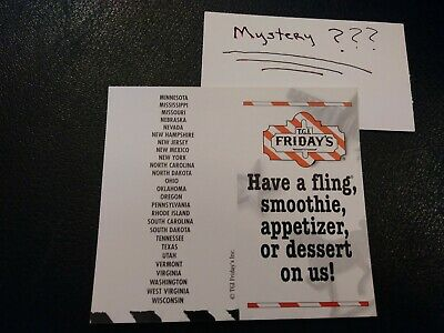 1 Friday's Free Dessert /Appetizer Voucher+1 Mystery Combo Meal Voucher(No Exp.)
