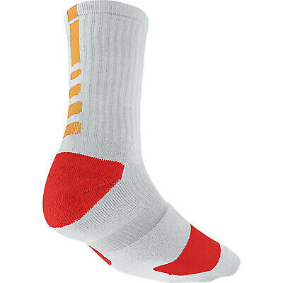 NIKE ELITE BASKETBALL CREW SOCKS Gray, Yellow, Red  SX3693-088 Size LARGE