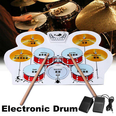 Electronic Drum, 8 Pad Portable Roll up Drum Pad Kits Foldable Musical Ent