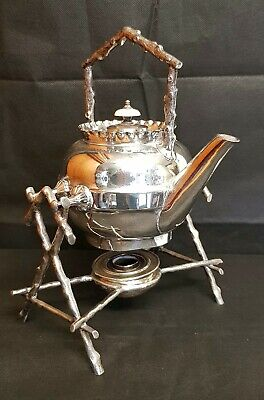 Art Nouveau/ Arts & Crafts Spirit Kettle On Stand - Silver Plated