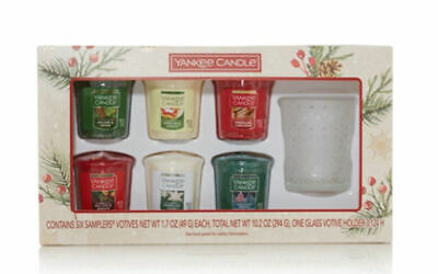 Yankee Candle Boxed Set of 8 Christmas Sampler Votive Candles Gift Set  *New*
