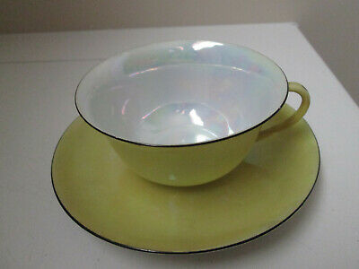Antique Bell Czechoslovakia Yellow Lustreware Bone China Cup & Saucer (+ Plate)