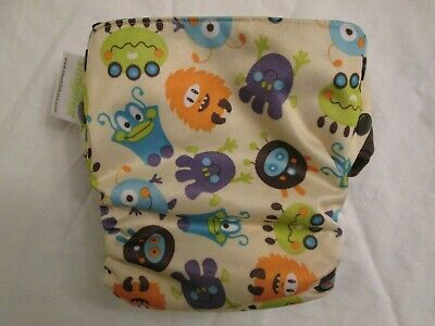 Swaddlebees Simplex All In One AIO Cloth Diaper Size M Aliens Print Snap Closure
