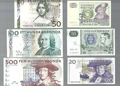 50 100 500 1000 Kronor 4 pcs total: 1,650 Kronor banknote lot from Sweden