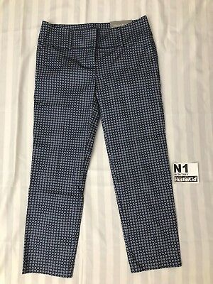 New Ann Taylor Womens Pants Blue Dot Size 0 Cropped Signature Straight Hip Thigh