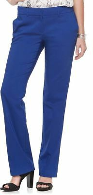 Women's Apt. 9 Torie Midrise Modern Fit Straight-Leg Dress Pants Blue Size: 16 S