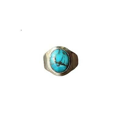 Solid 925 Sterling Silver Natural Turquoise Gemstone Ring Handmade Fine Jewelry