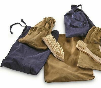 Polish Military 2 Wooden-Brush Shoe Shine/Cleaning Kit w/ Canvas Bag - VTG NOS