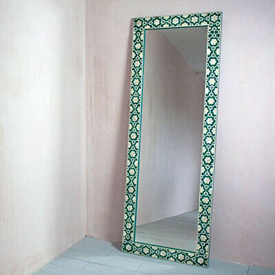 Handmade Bone Inlay Green Leaf Floral Mirror Frame