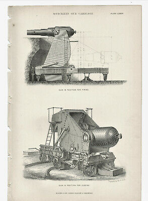 Antique Victorian Illustrated Print Monceieff Gun Carriage LXXXIV Blackie & Sons